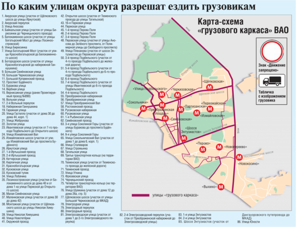 Карта-схема грузового каркаса в ВАО Москвы